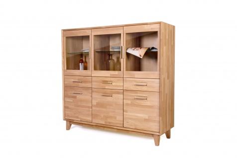 Standard Furniture Highboard 1 aus dem Einzelmöbelprogramm Numero Uno Massivholz Schrank mit drei Holztüren drei Glastüren und Schubkästen Anrichte für Wohnzimmer oder Esszimmer Griffausführung Gestellvariante und Holzausführung wählbar