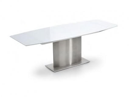 Niehoff Esstisch PISA Design-Ausziehtisch mit Gestell in Edelstahl gebürstet Säulentisch für Esszimmer Tischplatte bootsförmig Tischplattenausführung in Keramik oder Glas wählbar
