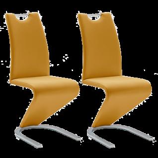 MCA furniture Freischwinger mit Griff Amado im 2er Set Polsterstuhl mit Kunstleder-Bezug curry gelb Gestell Flachrohr verchromt