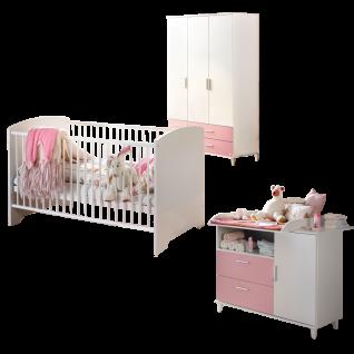 Rauch Packs Aik-Extra 3-teiliges Babyzimmer mit Drehtürenschrank Babybett und Wickelkommode Farbausführung alpinweiß mit Absetzungen in rosa optional mit Wandbord und Regalelementen