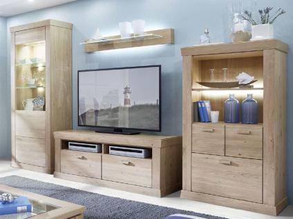 Schröder Sylt Kombination K001 teilmassive Wohnkombination 4-teilig in Asteiche mit Vitrine Highboard TV-Element und Wandboard für Wohnzimmer oder Ferienwohnung Beleuchtung wählbar