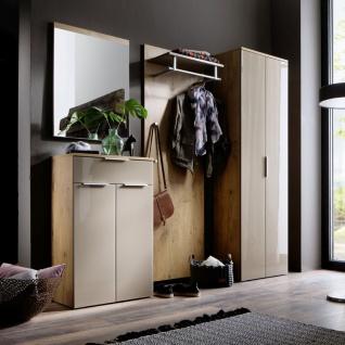 Wittenbreder Stelvio Garderobenkombination Nr. 10 komplette Garderobe für Ihren Flur und Eingangsbereich 4-teilige Vorschlagskombination im Dekor Wildeiche und Hellbraun Glas und Karamell Dekor - Vorschau 3