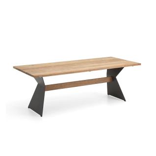 Niehoff Garden Nero Designtisch T3G8 mit Massivholztischplatte in Teak und Winkelwangen Stahl anthrazit pulverbeschichtet mit Teaksteg für Ihren Garten Größe und Holzausführung wählbar