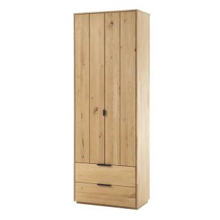 Quadrato Lissabon Garderobenschrank 40523015 in Wildeiche bianco Massivholz mit zwei Türen und zwei Schubkästen