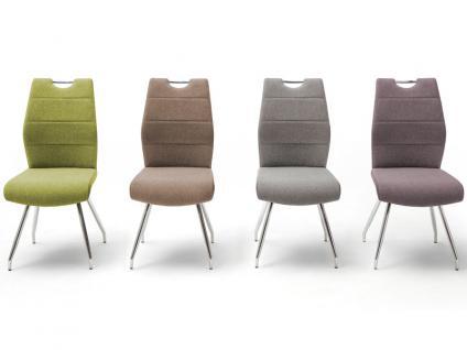 MCA furniture 4-Fuß-Stuhl mit Griffloch SILVICA B 2er-Set Bezug Front Filzoptik Masada Rücken Polyurethan Gestell Rundrohr verchromt Bezugfarbe wählbar Stuhl für Ihr Esszimmer