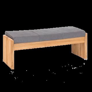 Standard Furniture Polsterbank Stockholm aus Massivholz Eiche natur Bezug SCARLETT grey Sitzbank ohne Rückenlehne