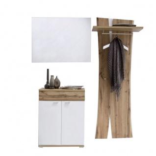 MCA furniture Garderobe Nia Garderobenkombination 3 dreiteilig in weiß mit Absetzung Wotan Eiche Nachbildung mit Kommode Spiegel und Garderobenpaneel für Ihre Diele