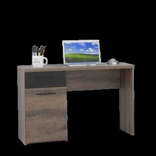 Forte Jacky Schreibtisch JCKB201 für Kinderzimmer und Jugendzimmer mit einer Tür und einem Schubkasten Arbeitstisch mit Korpus in Schlammeiche Dekor und Front in Script-Schlammeiche Dekor mit Absetzung in Schwarzeiche Dekor
