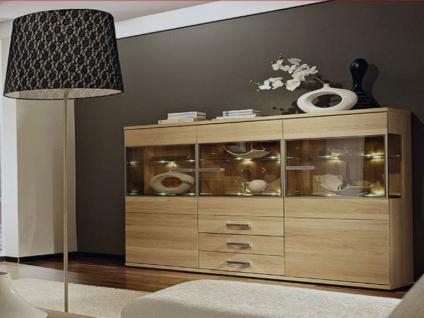 Schröder Cara Highboard 3835 teilmassive Kommode für Wohnzimmer oder Esszimmer Beleuchtung wählbar
