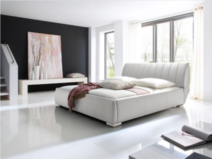 Meise Möbel Bern Polsterbett mit Kunstlederbezug in der Farbe weiß mit integriertem Bettkasten und Lattenrost Liegefläche wählbar