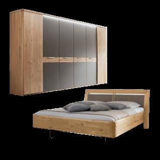 Wöstmann WSM 2000 Schlafzimmer 2-teilig bestehend aus einer Bettanlage Liegefläche wählbar und 6-türigem Drehtürenschrank optional Kranzprofil mit oder ohne LED-Beleuchtung sowie Konsolen