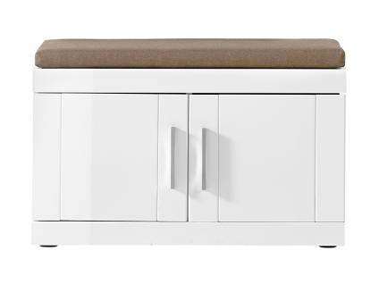 Innostyle Juno Bank Front in weiß Hochglanz Korpus weiß glänzend mit Sitzkissen Stoff beige Nr 30 57 WW 60 Garderobenschrank für Ihren Flur
