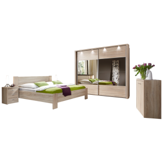 Wiemann Donna Schlafzimmer Kompaktbett mit Nachtkonsolen Schwebetürenschrank mit Spiegelglas und Kommode in Eiche-Sägerau-Nachbildung
