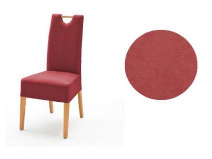 MCA Direkt Stuhl Elida rot Bezug Argentina 2er Set Polsterstuhl für Wohnzimmer und Esszimmer und Küche Ausführung 4 Fuß Massivholzgestell und Griff wählbar