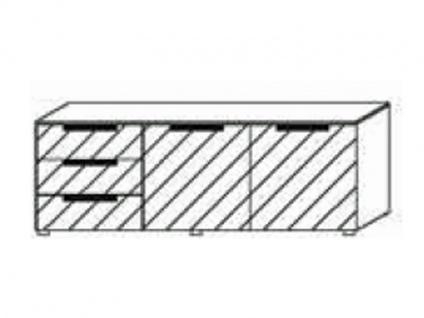 Kommode mit 2 Türen rechts und 3 Schubkästen links, Front Dekor matt