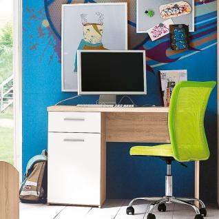 Forte Winnie Jugendzimmer Schreibtisch WNB935_Q36 Breite ca. 110 cm 1 Tür 1 Schubkasten im Dekor Sonoma Eiche Nachbildung kombiniert mit Weiß - Vorschau 2