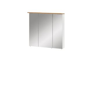 W. Schildmeyer Badmöbel Padua Spiegelschrank SPS700.1 Hängeschrank mit drei Spiegeltüren inkl. Beleuchtung Korpus Weiß Glanz Absetzung Eiche Landhaus Dekor für Ihr Badezimmer