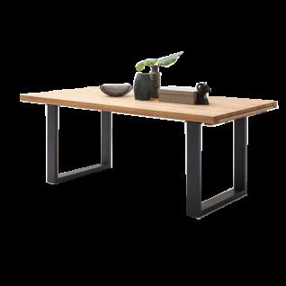 MCA furniture Kufentisch Dayton in Massivholz geölt mit durchgehender Lamelle und Gestell in Edelstahl gebürstet für Ihr Esszimmer