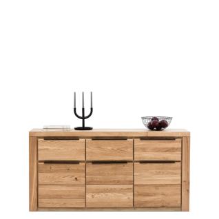 Elfo-Möbel Greta Sideboard 2556 mit 3 Holztüren und 3 Schubkästen Fronten Eiche Massivholz geölt mit durchgehenden Lamellen Korpus und Deckelplatte Dekor viel Stauraum für Ihr Gästezimmer oder Wohnzimmer