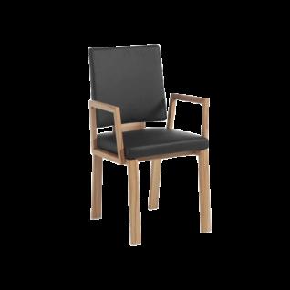 K+W Silaxx Massivholzstuhl 7888 1B mit dekorativen Armlehnen und einem natürlichen und einfachen Massivholzgestell in Kernbuche gölt und einem freundlichen Echtlederbezug Bronco in der Farbe schoko für Ihren Wohn- und Essbereich