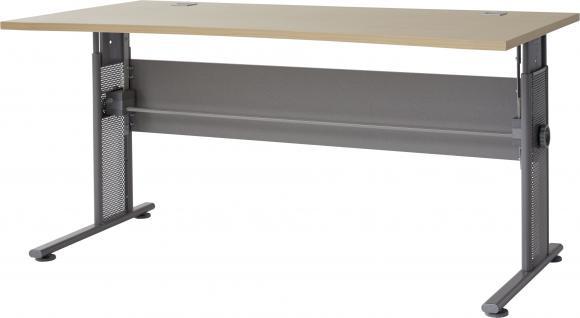 Germania Schreibtisch PROFI in 3 verschiedenen Farbvarianten, höhenverstellbar, mit Kabeldurchführung, für Homeoffice oder Büro
