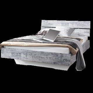 Rauch Select Sumatra-Extra Bett 180x200 cm in Vintage-Optik grau Schwebeoptik in alpinweiß optional mit Nachttischen