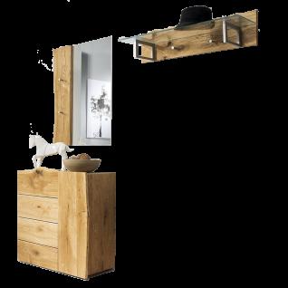 Skalik Meble Woodline Garderobe Spiegel Garderobenleiste mit Glasplatte Kommode Front und Kopus Eiche Massivholz geölt individuelle Baumkante