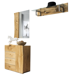 Skalik Meble Woodline Garderobe Spiegel Garderobenleiste mit Glasplatte Kommode mit 4 Schubkästen Front und Kopus Eiche Massivholz geölt mit individueller Baumkante