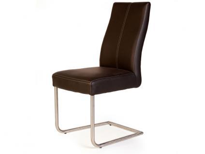 Standard Furniture Stuhl Gina Schwingstuhl mit Griff im Rücken und Edelstahl-Rundrohr-Gestell für Wohnzimmer oder Esszimmer Bezüge wählbar
