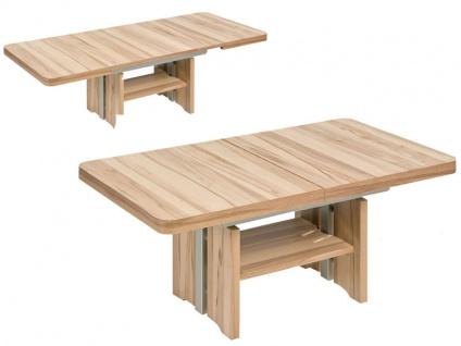 Vierhaus Couchtisch IL-Kulisse 2526 oder 2529 Tischplatte ca.130 cm Ecken abgerundet, ausziehbar und höhenverstellbar, Farbausführung, Ablageboden, Tiefe und Rollensatz wählbar