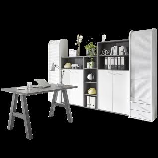 Mäusbacher Mister Office Büro-Set 8-teilig mit drei Aktenregalen zwei Regaltüren-Sets zwei Rolloschränken und einem Schreibtisch ca. 140 x 70 cm mit A-Gestell Büromöbel im Dekor Weiß und Graphit Nachbildung Kombination für Ihr Büro oder Arbeitszimmer