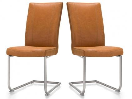 Habufa Sono Freischwinger 2er Set Stuhl mit Rundrohr-Edelstahlgestell für Ihr Esszimmer Schwingstuhl mit wählbarem Echtlederbezug Handgriff an der Rückenlehne wählbar
