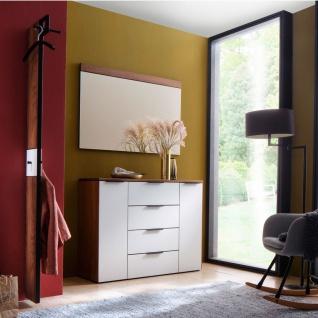 Wittenbreder Novara Garderobenkombination Nr. 05 komplette Garderobe für Ihren Flur und Eingangsbereich 3-teilige Vorschlagskombination im Nussbaum und Glas Weiß mattiert Griffe und Metallteile in Schwarz - Vorschau 2