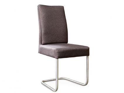 Standard Furniture Schwingstuhl Timmy 1 mit Komfortsitz und Edelstahl-Rundrohr-Gestell Polsterstuhl für Wohnzimmer oder Esszimmer Bezug wählbar