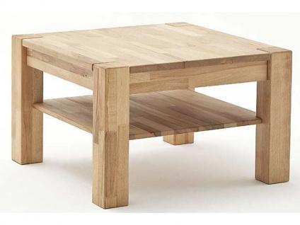 MCA Furniture Couchtisch Peter 58705 Kernbuche Massivholz geölt 65x65 cm keilverzinkt quadratisch mit Ablageplatte und sichtbare Stollen