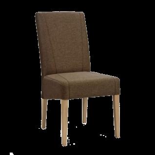 Standard Furniture Stuhl Leon mit Kontrastnähten braun Bezug Loco walnut Webstoffoptik Gestell aus Massivholz Eiche bianco