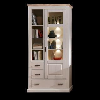 Wohn-Concept Lima Vitrine 06 in Pinie Hell Oberboden MDF Farbe wählbar Standvitrine mit einer Tür drei Schubkästen vier offenen Fächern und LED-Beleuchtung für Ihr Wohnzimmer oder Esszimmer