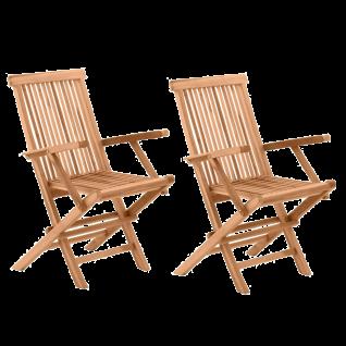 Möbilia Gartenmöbel Gartenstuhl klappbar 2er-Set Teakholz massiv Holzstühle für Terasse und Balkon