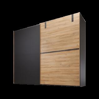 Nolte Möbel Cepina Schwebetürenschrank 2-türig ca. 320 cm breit Korpus und linke Tür in Basalt rechte Tür in Panked Oak optional mit Dämpfungsbeschlägen