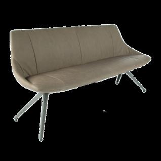 Bert Plantagie Sitzbank Maple ohne Armlehnen mit Metallgestell in Lack Quartz-Grey RAL7039 und Bezug Leder 2 Rancho stone LR0409 leger gepolstert