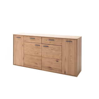 MCA Furniture Portland Sideboard POR17T02 für Ihr Wohnzimmer oder Esszimmer Kommode mit vier Türen und zwei Schubkästen Anrichte in Asteiche bianco teilmassiv mit Fronten aus Massivholz