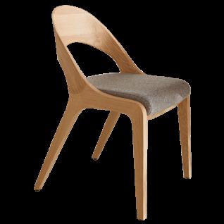 S-Kultur by Wöstmann Stuhl Fluid 1 Massivholzstuhl mit ergonomisch geformten Holzrücken und gepolstertem Sitz Polsterstuhl für Esszimmer mit Komfortgurtung Holzausführung und Bezug wählbar