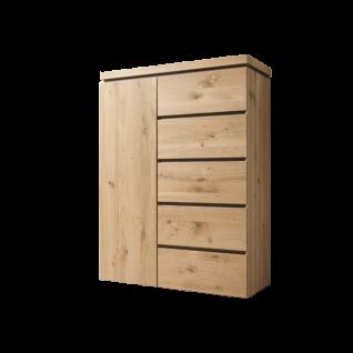 Thielemeyer Isola Kommode mit 1 Tür links und 5 Schubkästen rechts Ausführung Front und Korpus Wildeiche Massivholz optional mit Vollauszug der Schubkästen