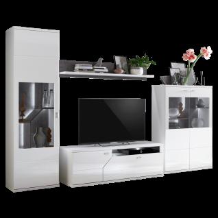 Ideal-Möbel Taviano Wohnkombination 35 moderne 4-teilige Wohnwand für Ihr Wohnzimmer mit Lowboard Wandboard und zwei Vitrinen Ausführung Weiß mit Hochglanzfronten und Absetzungen in Marmor Optik