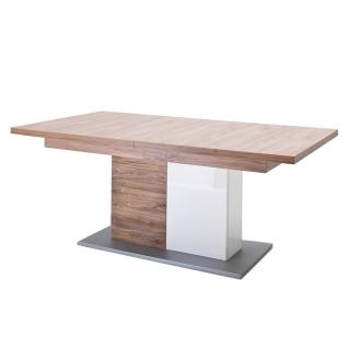 MCA Furniture Luzern LUZ93T60 Esstisch für Ihr Esszimmer Hochglanz weiß tiefzieh Nachbildung mit Absetzung Sterling Oak ausziehbar mit Synchronauszug