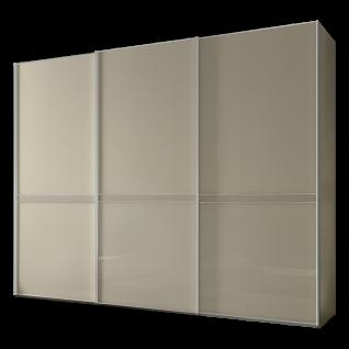 Staud Sonate Pesaro Schwebetürenschrank Korpus Dekor Sand Front Magnoliaglas mit Mittelband Mattglas Griff - und Zierleisten alufarbig Größe wählbar