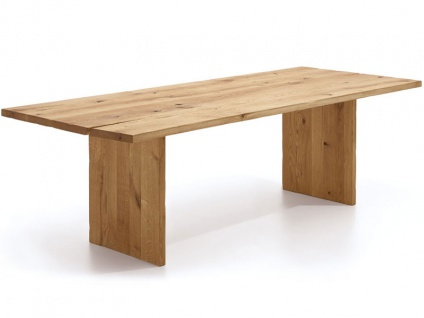 Wimmer Zweigl Wangenesstisch Z23 mit Holzwangen massiv geölt Tischplattenausführung Größe und Ansteckplatte wählbar Tisch für Ihre Küche oder Ihr Esszimmer