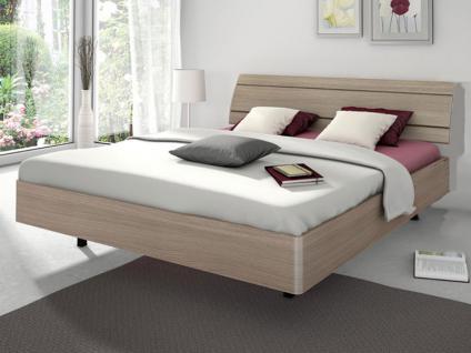 Nolte Sonyo Bett Doppelbett 2 Bettrahmen rund mit Holz-Rückenlehne 2 und schwebe Optik