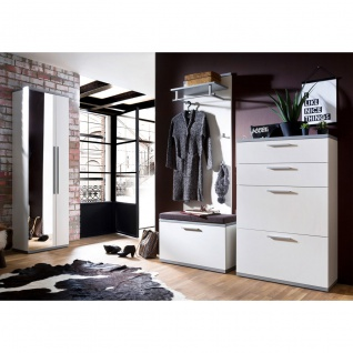 Wittenbreder Come In Garderobenkombination Nr. 05 komplette Garderobe für Ihren Flur und Eingangsbereich 5-teilige Vorschlagskombination in Weiß Lack und Grau Lack mit Alternativgriff matt Metallteile in matt - Vorschau 2