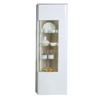 Forte Babila Vitrine BBLV713RB für Ihr Wohnzimmer oder Esszimmer Standvitrine mit Glastür und Beleuchtung Dekor Korpus Weiß matt kombiniert mit Weiß Hochglanz Front Weiß Hochglanz Absetzungen Picea Kiefer Nachbildung